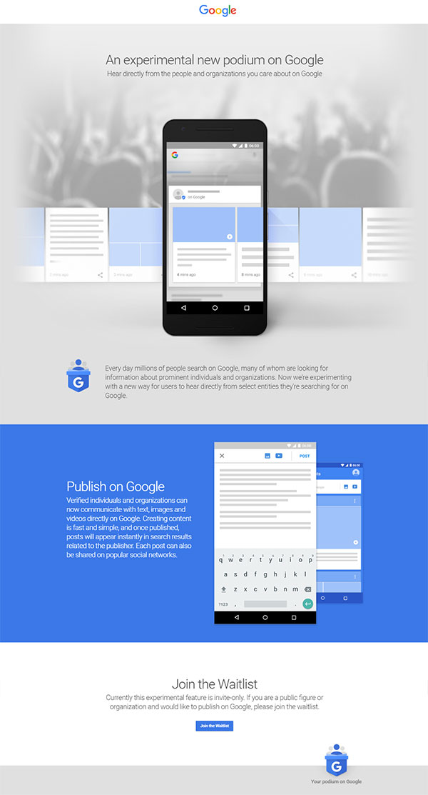 Google Podium landing page