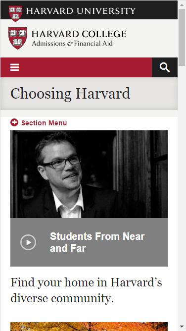 Harvard mobile landing page