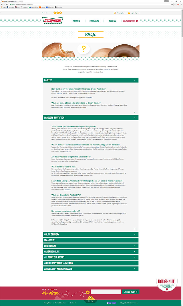 Krispy Kreme FAQ page