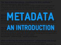 Metadata - an introduction